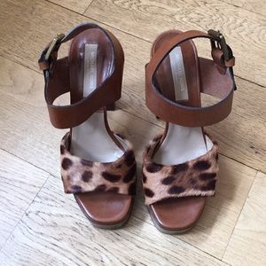 Michael Kors Collection Leopard Print Fur Heels